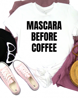 Mascara Before Coffee Graphic Tee - White 1 of 2